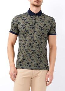 ADZE - Erkek Yeşil Baskılı Spor Polo Yaka Tişört