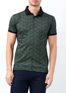 ADZE - Erkek Yeşil Slim Fit Baskılı Polo Yaka Tişört