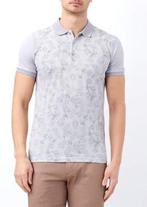 ADZE - Gri Erkek Baskılı Slim Fit Polo Yaka Tişört