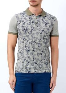ADZE - Haki Erkek Baskılı Slim Fit Polo Yaka Tişört