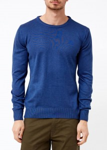 ADZE - Indigo Men's Round Collar Basic Sweater