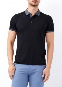 ADZE - Erkek Siyah Yaka Desenli Basic Polo Yaka Tişört
