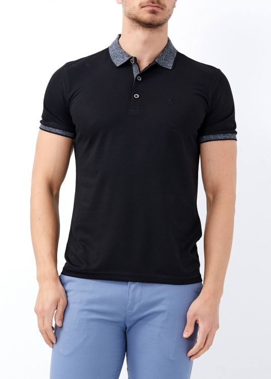 Erkek Siyah Yaka Desenli Basic Polo Yaka Tişört