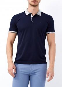 ADZE - Erkek Lacivert Yaka Desenli Basic Polo Yaka Tişört