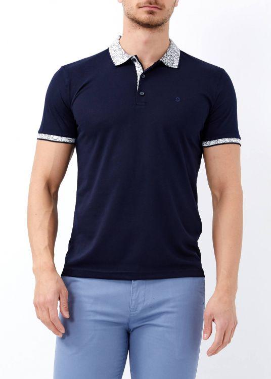 Erkek Lacivert Yaka Desenli Basic Polo Yaka Tişört