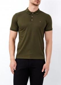 ADZE - Erkek Haki Jakarlı Slim Fit Polo Yaka Tişört