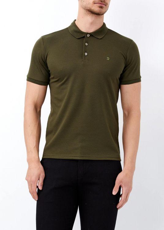 Erkek Haki Jakarlı Slim Fit Polo Yaka Tişört