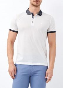 ADZE - Erkek Beyaz Yaka Desenli Basic Polo Yaka Tişört