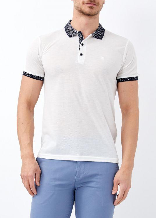 Erkek Beyaz Yaka Desenli Basic Polo Yaka Tişört