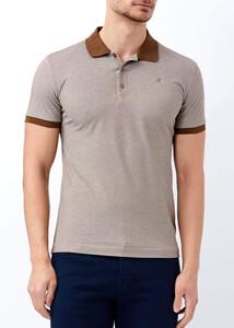 ADZE - Erkek Kahve Klasik Giyim Basic Polo Yaka Tişört