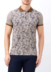 ADZE - Kahverengi Erkek Baskılı Slim Fit Polo Yaka Tişört