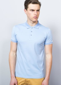 ADZE - Light Blue Men's Basıc Pıque Polo Shirt