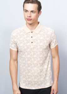 Light Coral Men's Prınted Polo Shırt