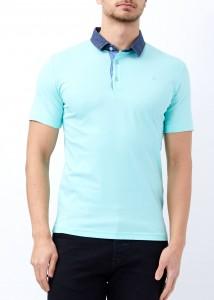 ADZE - Aqua Yeşil Erkek Slim Fit Basic Düz Polo Yala Tişört