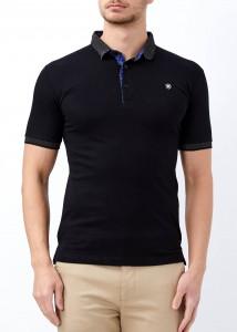 ADZE - Erkek Siyah Düz Polo Yaka Tişört