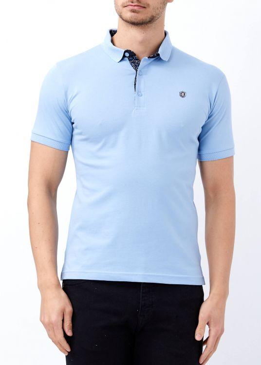 Erkek Mavi Düz Polo Yaka Tişört