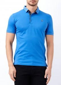 ADZE - Erkek Saks Düz Polo Yaka Tişört
