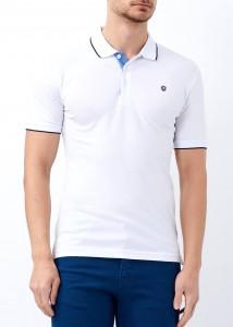 ADZE - Beyaz Erkek Basic Slim Fit Polo Yaka Tişört