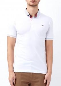 ADZE - Erkek Beyaz Düz Polo Yaka Tişört