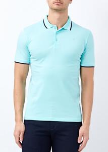 ADZE TOPTAN - Toptan Erkek Aqua Yeşil Likralı Düz Polo Yaka Tişört