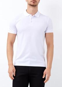 ADZE - Erkek Beyaz Düz Slim Fit Spor Polo Yaka Tişört
