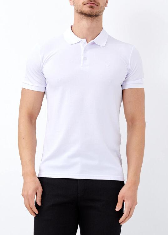 Erkek Beyaz Düz Slim Fit Spor Polo Yaka Tişört