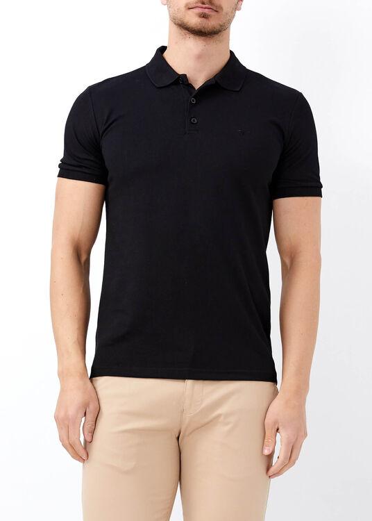 Erkek Siyah Düz Slim Fit Spor Polo Yaka Tişört