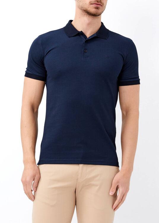 Erkek Lacivert Düz Slim Fit Spor Polo Yaka Tişört