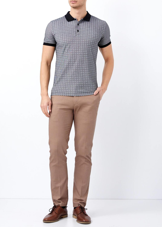 Men Black Slim Fit Flower Printed Polo Neck T-Shirt | Patterned ...