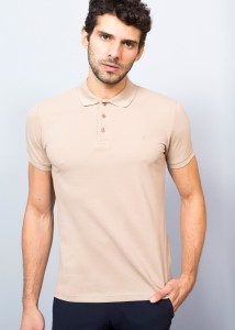 Beige Men's Crested Basic Polo Shirt