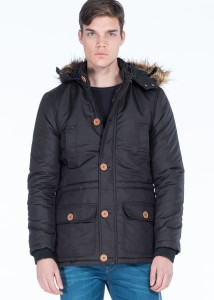 LENASSO - Black Men's Faux Fur Hooded Parka with Button