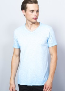 Blue Men's V-shaped Basic T-Shirt