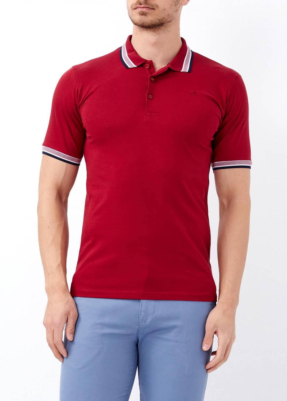 c7319a44 Men's Bordeaux Basic Slim Fit Polo T-Shirt   Basic Plain Polo T ...