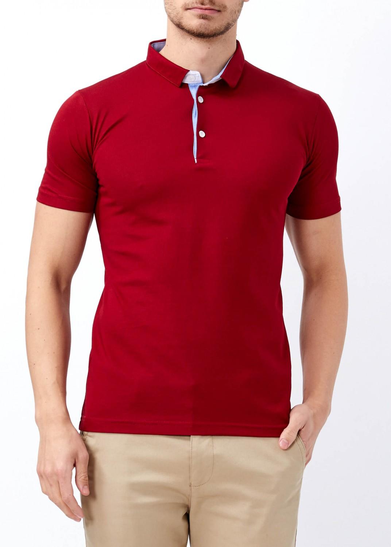 d57c7181 Men's Burgundy Basic Slim Fit Polo T-Shirt | Basic Plain Polo T ...