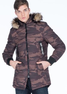 LENASSO - Dark Green Men's Camouflage Patterned & Zippered Parka