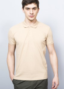 ADZE - Cream Men's Cotton Basic Polo Shirt