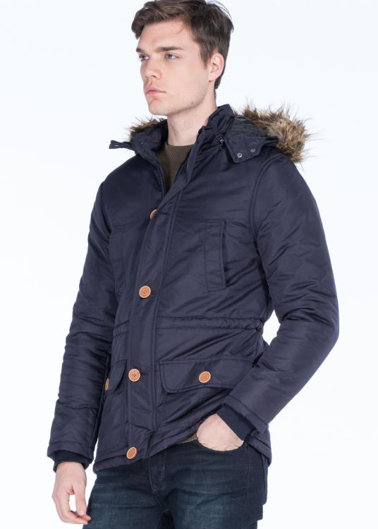 Dark Blue Men's Faux Fur Hooded Parka with Button