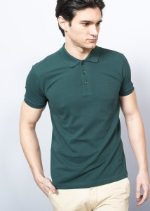 ADZE - Dark Green Men's Basic Pique Polo Shirt