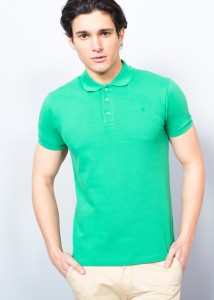 ADZE - Green Men's Crested Basic Polo Shirt