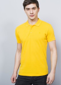ADZE - Yellow Men's Crested Basic Polo Shirt