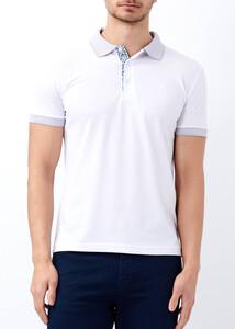 ADZE - Erkek Beyaz Yaka ve Kol Detaylı Polo Tişört