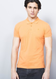 ADZE - Orange Men's Basic Pique Polo Shirt