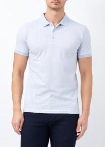 ADZE - Mavi Erkek Slim Fit Çiçek Baskılı Polo Yaka Tişört