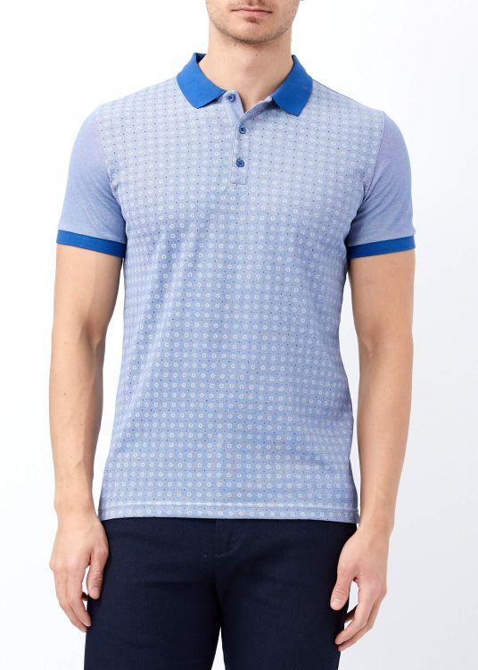 Koyu Mavi Erkek Slim Fit Çiçek Baskılı Polo Yaka Tişört