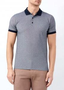 ADZE - Lacivert Erkek Slim Fit Çiçek Baskılı Polo Yaka Tişört