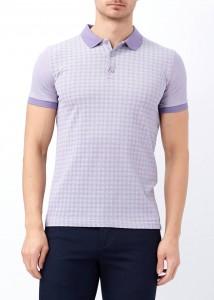 ADZE - Mor Erkek Slim Fit Çiçek Baskılı Polo Yaka Tişört