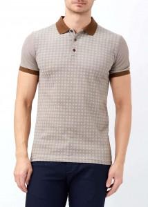 ADZE - Kahverengi Erkek Slim Fit Çiçek Baskılı Polo Yaka Tişört