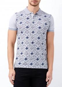 ADZE - Gri Erkek Çiçek Desenli Polo Yaka Tişört