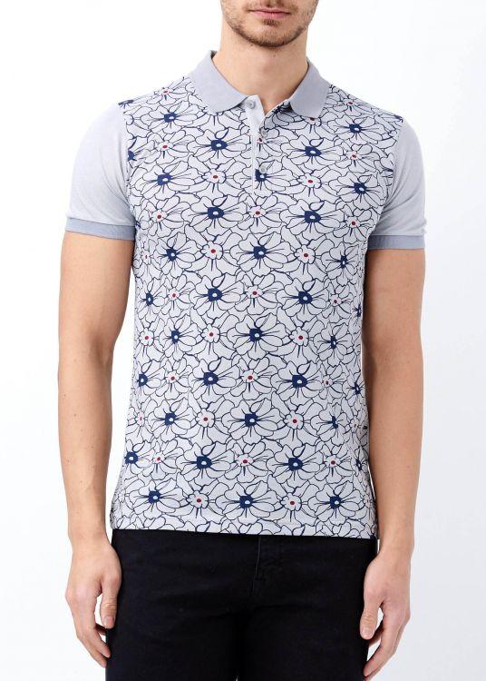 Gri Erkek Çiçek Desenli Polo Yaka Tişört