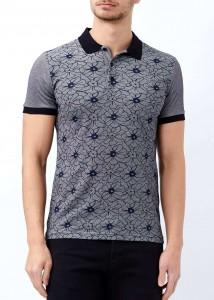 ADZE - Siyah Erkek Çiçek Desenli Polo Yaka Tişört